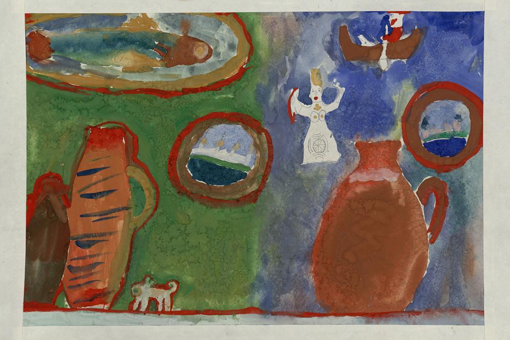 Детский рисунок «Соловецкая трапеза»