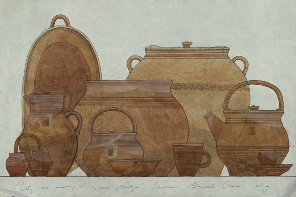 Проект сервиза гончарной посуды «Беломорье». Автор – Афанасьева О.