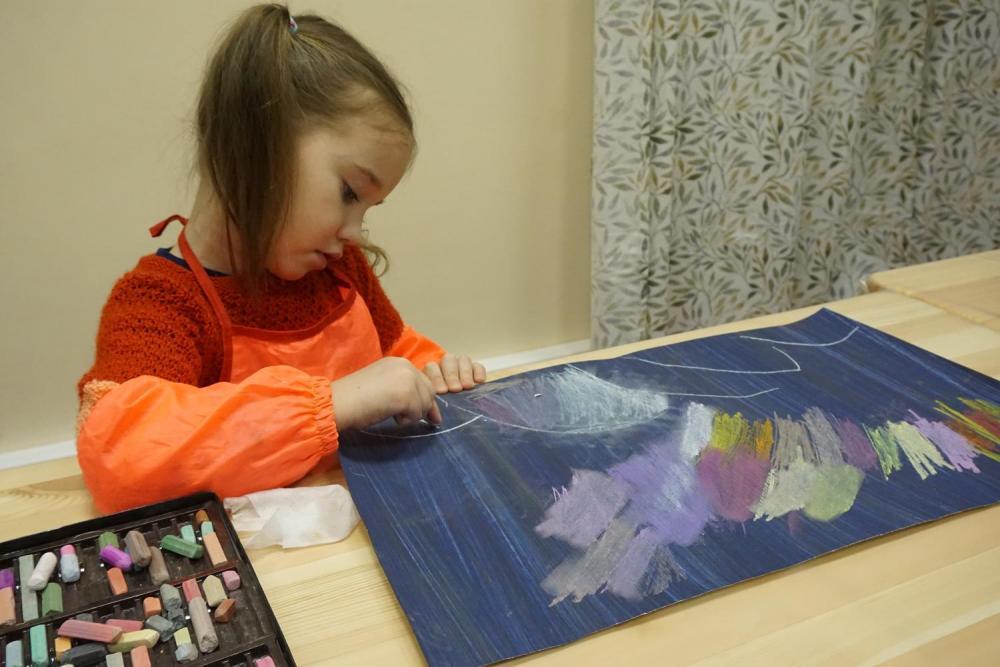 Рисуем северное сияние пастелью