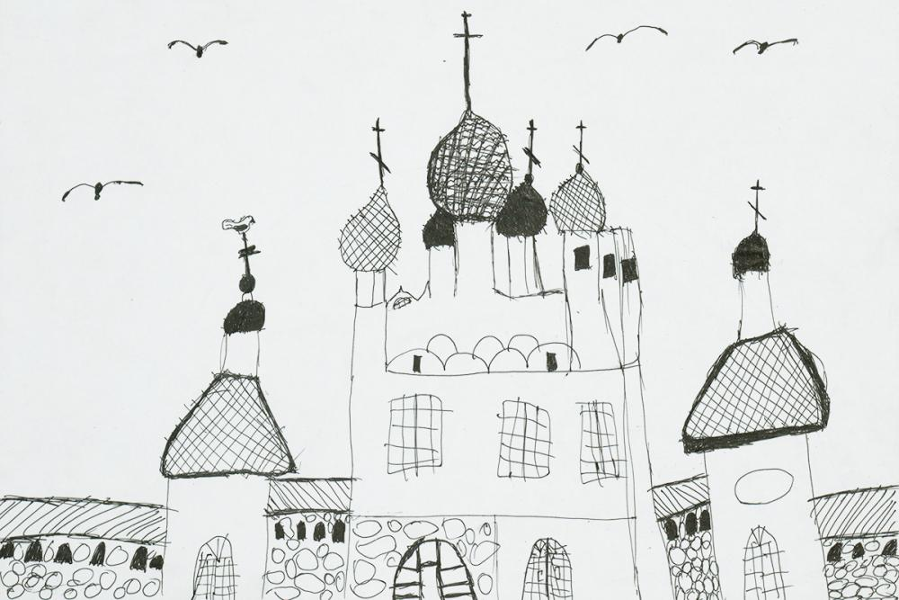 Храм, башни и птицы. Костылева Даша, 9 лет
